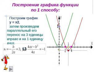 Построение графика функции по 1 способу: