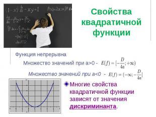 Свойства квадратичной функции Многие свойства квадратичной функции зависят от зн