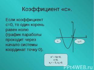 Если коэффициент Если коэффициент с=0, то один корень равен нолю (график парабол