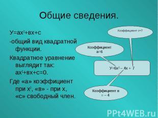 У=ах2+вх+с У=ах2+вх+с -общий вид квадратной функции. Квадратное уравнение выгляд