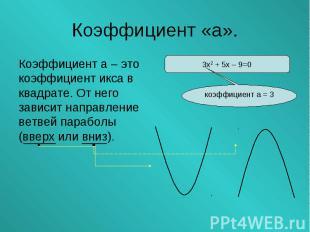 Коэффициент а – это коэффициент икса в квадрате. От него зависит направление вет