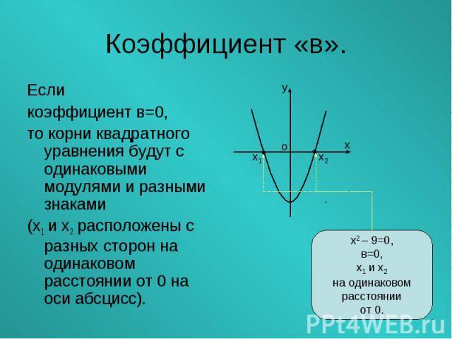 Если Если коэффициент в=0, то корни квадратного уравнения будут с одинаковыми модулями и разными знаками (х1 и х2 расположены с разных сторон на одинаковом расстоянии от 0 на оси абсцисс).