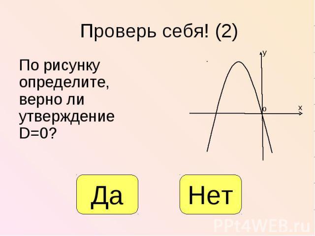 По рисунку определите, верно ли утверждение D=0? По рисунку определите, верно ли утверждение D=0?