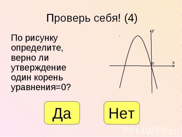 По рисунку определите, верно ли утверждение один корень уравнения=0? По рисунку определите, верно ли утверждение один корень уравнения=0?