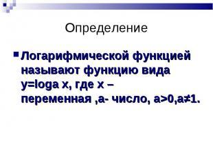 Логарифмической функцией называют функцию вида у=loga х, где х – переменная ,a-