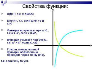 D(f)=R, т.к. х-любое D(f)=R, т.к. х-любое Е(f)=R+, т.к. если a >0, то и ax&gt