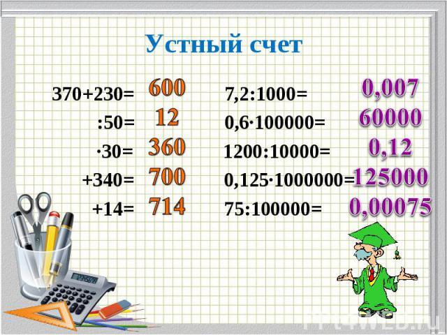370+230= 7,2:1000= 370+230= 7,2:1000= :50= 0,6∙100000= ∙30= 1200:10000= +340= 0,125∙1000000= +14= 75:100000=