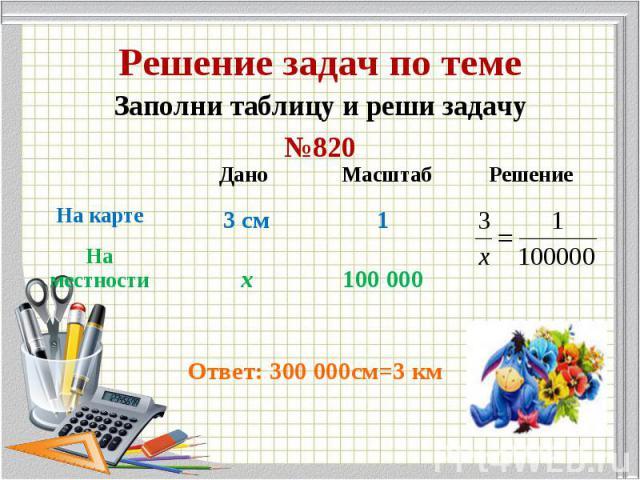 Заполни таблицу и реши задачу Заполни таблицу и реши задачу №820