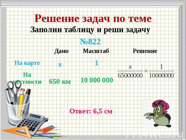Заполни таблицу и реши задачу Заполни таблицу и реши задачу №822