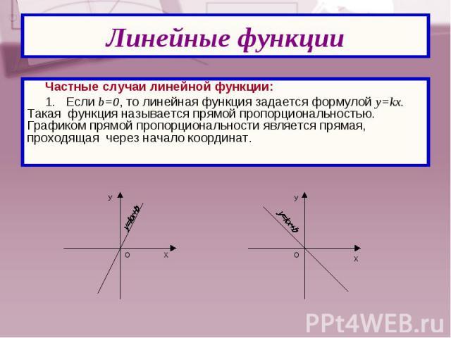 Частные случаи линейной функции: Частные случаи линейной функции: 1. Если b=0, то линейная функция задается формулой y=kx. Такая функция называется прямой пропорциональностью. Графиком прямой пропорциональности является прямая, проходящая через нача…