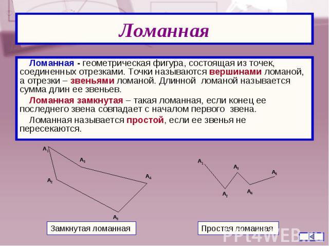 Ломанная - геометрическая фигура, состоящая из точек, соединенных отрезками. Точки называются вершинами ломаной, а отрезки – звеньями ломаной. Длинной ломаной называется сумма длин ее звеньев. Ломанная - геометрическая фигура, состоящая из точек, со…