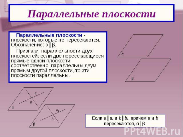 Параллельные плоскости - плоскости, которые не пересекаются. Обозначение: α║β. Параллельные плоскости - плоскости, которые не пересекаются. Обозначение: α║β. Признаки параллельности двух плоскостей: если две пересекающиеся прямые одной плоскости соо…