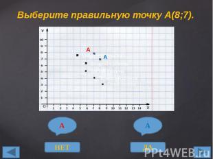 Выберите правильную точку А(8;7).