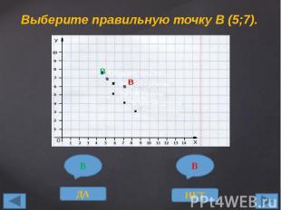 Выберите правильную точку В (5;7).