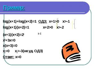 log2(x+1)+log2(x+2)=1 ОДЗ: x+1>0 x>-1 log2(x+1)+log2(x+2)=1 ОДЗ: x+1>0