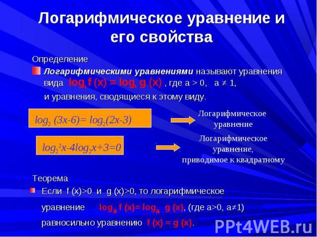 Определение Определение Логарифмическими уравнениями называют уравнения вида logа f (x) = logа g (x) , где а > 0, a ≠ 1, и уравнения, сводящиеся к этому виду.
