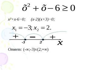 x²+x-6=0; (х-2)(х+3)=0; x²+x-6=0; (х-2)(х+3)=0; Ответ: (-∞;-3)v(2;+∞)