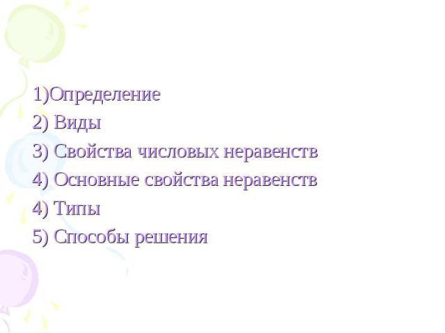 1)Определение 1)Определение 2) Виды 3) Свойства числовых неравенств 4) Основные свойства неравенств 4) Типы 5) Способы решения