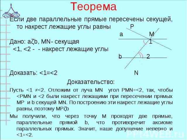 Если две параллельные прямые пересечены секущей, то накрест лежащие углы равны P Если две параллельные прямые пересечены секущей, то накрест лежащие углы равны P а М Дано: аǁb, MN- секущая 1 <1, <2 - - накрест лежащие углы b 2 Доказать: <1=…