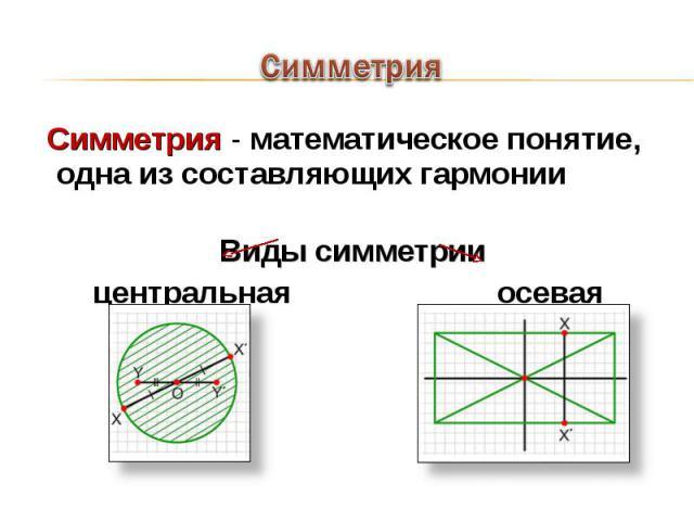 Симметрия - математическое понятие, одна из составляющих гармонии Симметрия - математическое понятие, одна из составляющих гармонии Виды симметрии центральная осевая