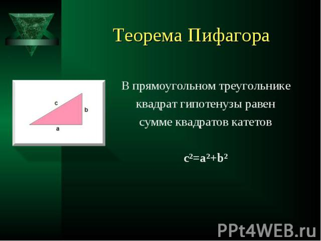 В прямоугольном треугольнике В прямоугольном треугольнике квадрат гипотенузы равен сумме квадратов катетов c²=a²+b²