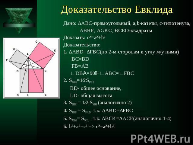 Дано: ∆АВС-прямоугольный, а,b-катеты, с-гипотенуза, Дано: ∆АВС-прямоугольный, а,b-катеты, с-гипотенуза, ABHF, AGKC, BCED-квадраты Доказать: c²=a²+b² Доказательство: 1. ∆ABD=∆FBC(по 2-м сторонам и углу м/у ними) BC=BD FB=AB ∟DBА=90 +∟ABC=∟FBC 2. S∆AB…