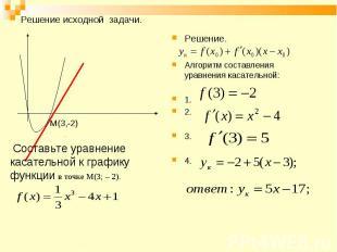 Решение. Решение. Алгоритм составления уравнения касательной: 1. 2. 3. 4.
