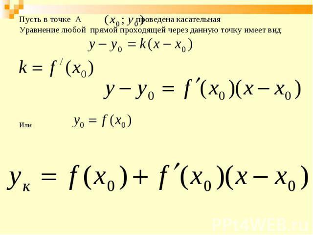 Пусть в точке А проведена касательная Пусть в точке А проведена касательная Уравнение любой прямой проходящей через данную точку имеет вид Или