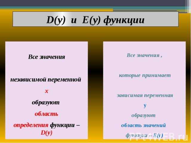 D(y) и E(y) функции Все значения независимой переменной х образуют область определения функции – D(y)