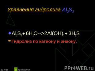 Al2S3 + 6H2O-->2Al(OH)3 + 3H2S Al2S3 + 6H2O-->2Al(OH)3 + 3H2S Гидролиз по