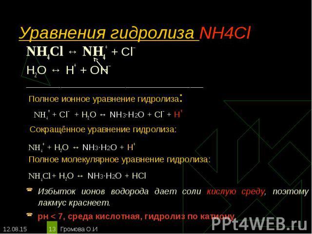 NH4Cl ↔ NH4+ + Сl– NH4Cl ↔ NH4+ + Сl– Н2O ↔ Н+ + ОН– _________________________________________ Полное ионное уравнение гидролиза: NH4+ + Сl– + Н2O ↔ NH3·H2О + Сl– + Н+ Сокращённое уравнение гидролиза: NH4+ + Н2O ↔ NH3·H2О + Н+ Полное молекулярное ур…