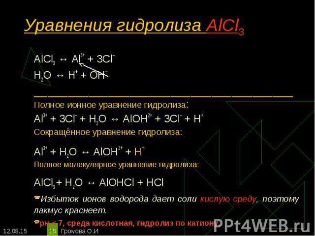АlСl3 ↔ Аl3+ + 3Сl– АlСl3 ↔ Аl3+ + 3Сl– Н2O ↔ Н+ + ОН– ______________________________________ Полное ионное уравнение гидролиза: Al3+ + 3Сl– + Н2O ↔ АlOН2+ + 3Сl– + Н+ Сокращённое уравнение гидролиза: Аl3+ + Н2O ↔ АlOН2+ + Н+ Полное молекулярное ура…