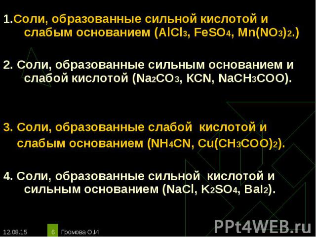 1.Соли, образованные сильной кислотой и слабым основанием (AlCl3, FeSO4, Mn(NO3)2.) 1.Соли, образованные сильной кислотой и слабым основанием (AlCl3, FeSO4, Mn(NO3)2.) 2. Соли, образованные сильным основанием и слабой кислотой (Na2CO3, КСN, NaCH3COO…