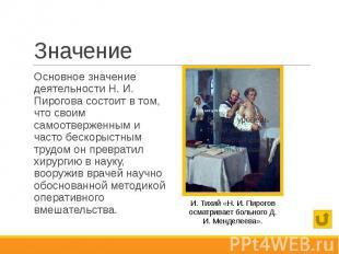 Значение Основное значение деятельности Н. И. Пирогова состоит в том, что своим