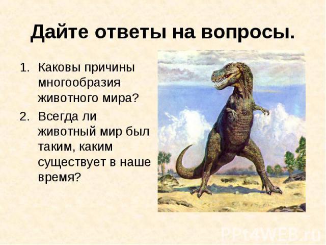 Каковы причины многообразия животного мира? Каковы причины многообразия животного мира? Всегда ли животный мир был таким, каким существует в наше время?