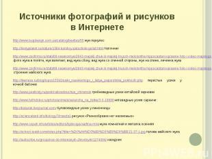 Источники фотографий и рисунков в Интернете http://www.bugdesign.com.ua/catalog/