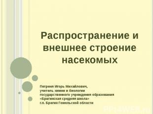 Распространение и внешнее строение насекомых Петреня Игорь Михайлович, учитель х
