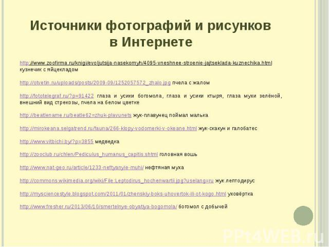 Источники фотографий и рисунков в Интернете http://www.zoofirma.ru/knigi/evoljutsija-nasekomyh/4095-vneshnee-stroenie-jajtseklada-kuznechika.html кузнечик с яйцекладом http://otvetin.ru/uploads/posts/2009-09/1252057572_zhalo.jpg пчела с жалом http:/…