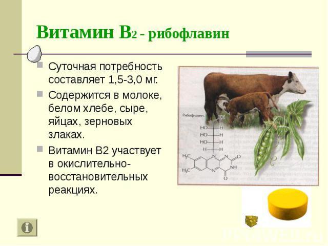 Суточная потребность составляет 1,5-3,0 мг. Суточная потребность составляет 1,5-3,0 мг. Содержится в молоке, белом хлебе, сыре, яйцах, зерновых злаках. Витамин В2 участвует в окислительно-восстановительных реакциях.