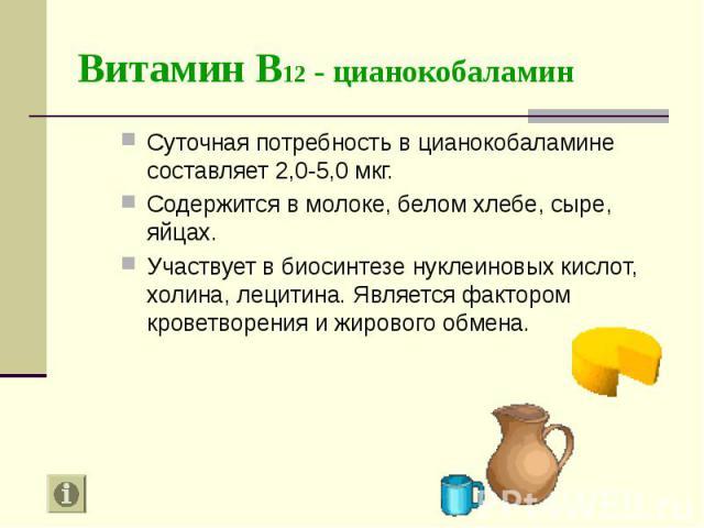 Суточная потребность в цианокобаламине составляет 2,0-5,0 мкг. Суточная потребность в цианокобаламине составляет 2,0-5,0 мкг. Содержится в молоке, белом хлебе, сыре, яйцах. Участвует в биосинтезе нуклеиновых кислот, холина, лецитина. Является фактор…