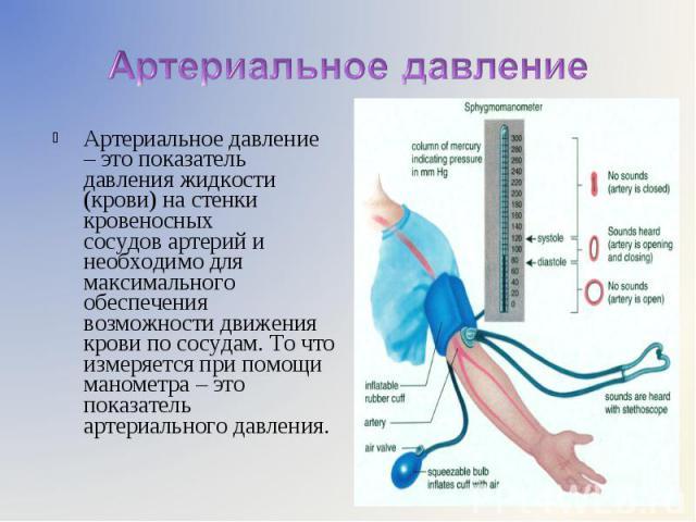 Артериальное давление – это показатель давления жидкости (крови) настенки кровеносных сосудовартерий и необходимо для максимального обеспечения возможности движения крови по сосудам. То что измеряется при помощи манометра – это показател…