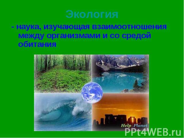 - наука, изучающая взаимоотношения между организмами и со средой обитания - наука, изучающая взаимоотношения между организмами и со средой обитания