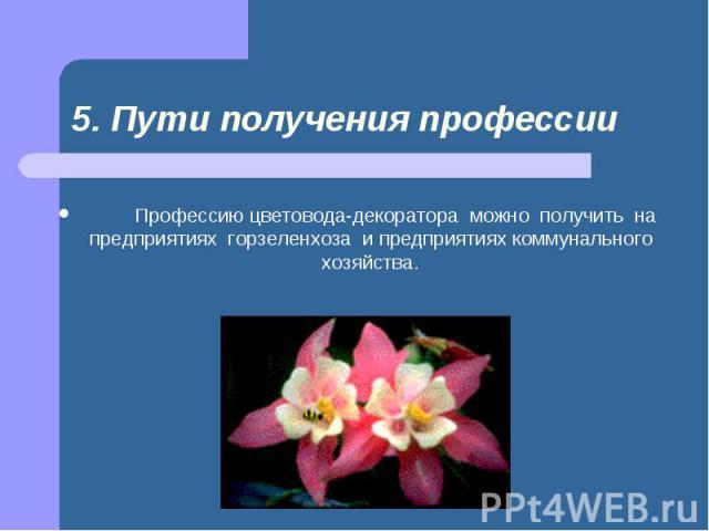 Профессию цветовода-декоратора можно получить на предприятиях горзеленхоза и предприятиях коммунального хозяйства.  Профес…