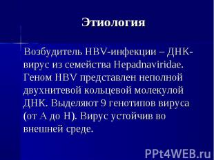 Возбудитель HBV-инфекции – ДНК-вирус из семейства Hepadnaviridae. Геном HBV пред