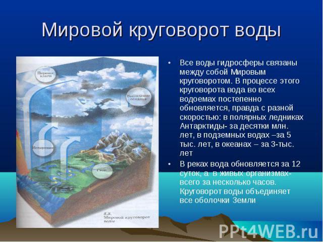 Все воды гидросферы связаны между собой Мировым круговоротом. В процессе этого круговорота вода во всех водоемах постепенно обновляется, правда с разной скоростью: в полярных ледниках Антарктиды- за десятки млн. лет, в подземных водах –за 5 тыс. лет…