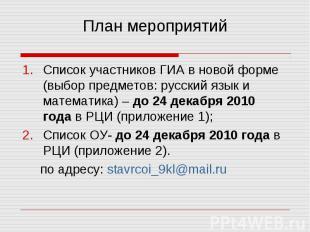Список участников ГИА в новой форме (выбор предметов: русский язык и математика)