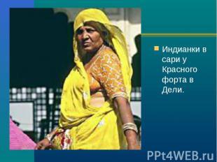 Индианки в сари у Красного форта в Дели. Индианки в сари у Красного форта в Дели