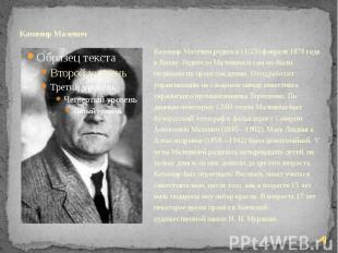 Казимир Малевич Казимир Малевич родился 11(23) февраля 1879 года в Киеве. Родите