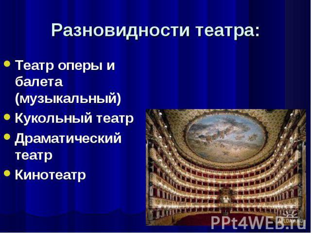Театр оперы и балета (музыкальный) Театр оперы и балета (музыкальный) Кукольный театр Драматический театр Кинотеатр