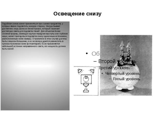 Освещение снизу Подобная схема может применяться при съемке предметов, у которых важно подсветить нижнюю сторону. Иногда бывает достаточно лишь фона из белой бумаги, который отражает достаточно света для подсветки теней. Для объектов более сложной ф…